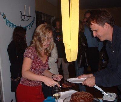 Kim, cake, and Steve