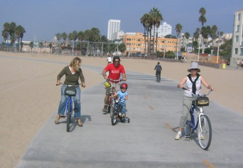 Riding bikes in Santa Monica