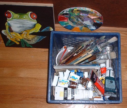 box of colors and frog painting