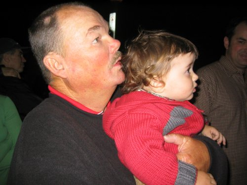 Grandpa and Sean watching the fireworks