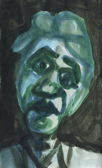 green and blue guy - acrylic on paper by gm