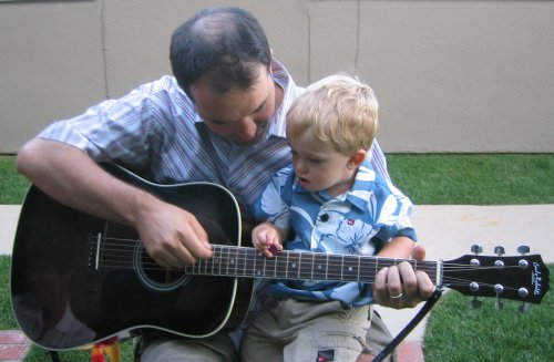 Jackson's first guitar lesson