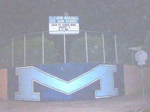 Marshall High School at night.
