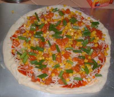 Salmon, corn and green onion pizza by mrs. m.