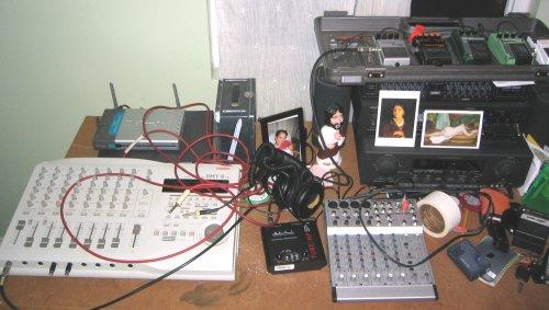 Bass and scratch guitar recording setup