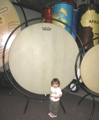 Sean with a big drum at REMO!