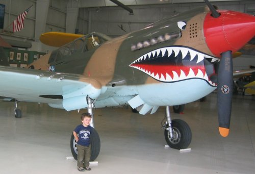 Sean in front of the Shark Plane - a P40 at the Palm Springs Air Museum