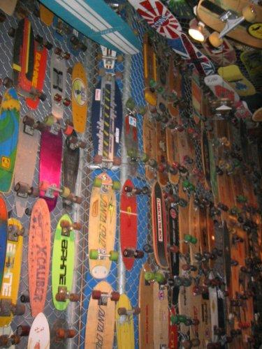 Lots of skateboards