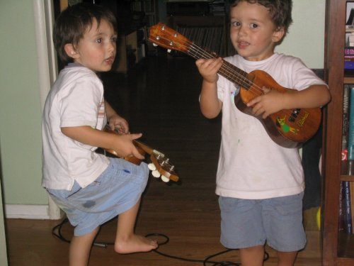 Xander and Sean rocking out while recording Jack was Every Inch a Sailor